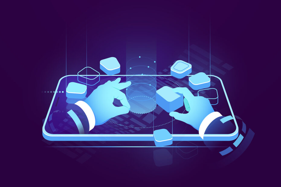 Holographic display isometric neon, digital futuristic technology, user interface development design, building mobile application, big data processing, cyber security isometric vector
